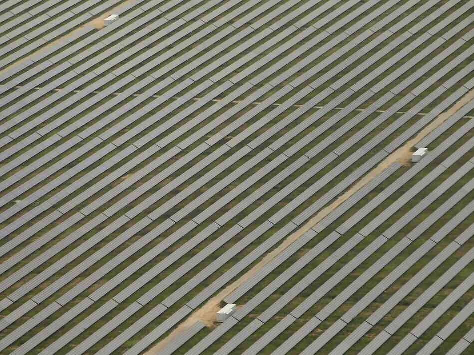Photovoltaic panels stand in a solar energy park on June 27, 2012 outside Berlin, Germany. Germany is investing heavily in renewable energy sources as part of a government initiative to wean the country off nuclear, and eventually coal-based, energy.