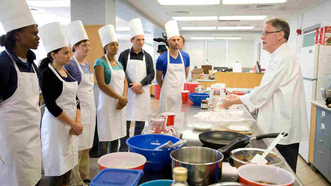 Rupert Spies, Senior Lecturer in Food and Beverage Management at Cornell, gives a hands-on workshop on bread making with the NASA team.