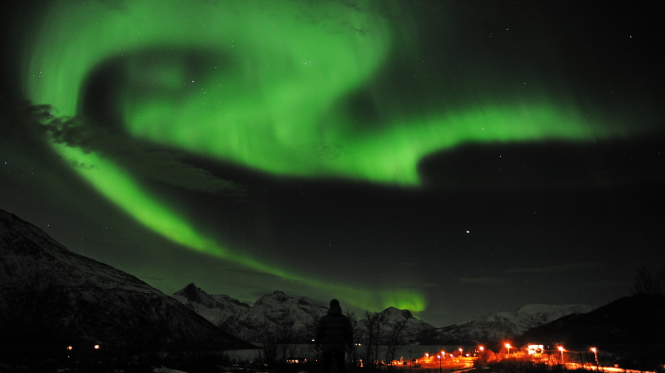 The northern lights over Tromsoe, northern Norway, on Jan. 24, 2012. (AFP/Getty Images)
