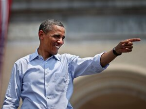 President Barack Obama waves to his supporters at a campaign event on the College of Fine Arts Lawn at Carnegie Mellon University July 5, 2012 in Pittsburgh, Penn. After returning from two days of campaigning, the President laid out his proposal for the Bush tax cuts yesterday.