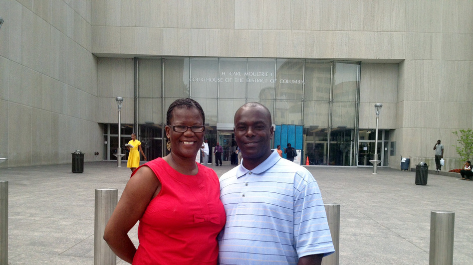 "Kirk Odom and his wife, Harriet, outside the H. Carl Moultrie Courthouse in Washington, D.C. On Tuesday, the Justice Department said there was ""clear and convincing evidence"" that Odom is innocent of a 1981 rape and robbery, for which he spent more than two decades behind bars."