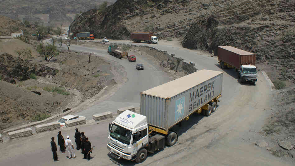 Pakistani border guards check trucks heading to Afghanistan, in the tribal area of Khyber last week.