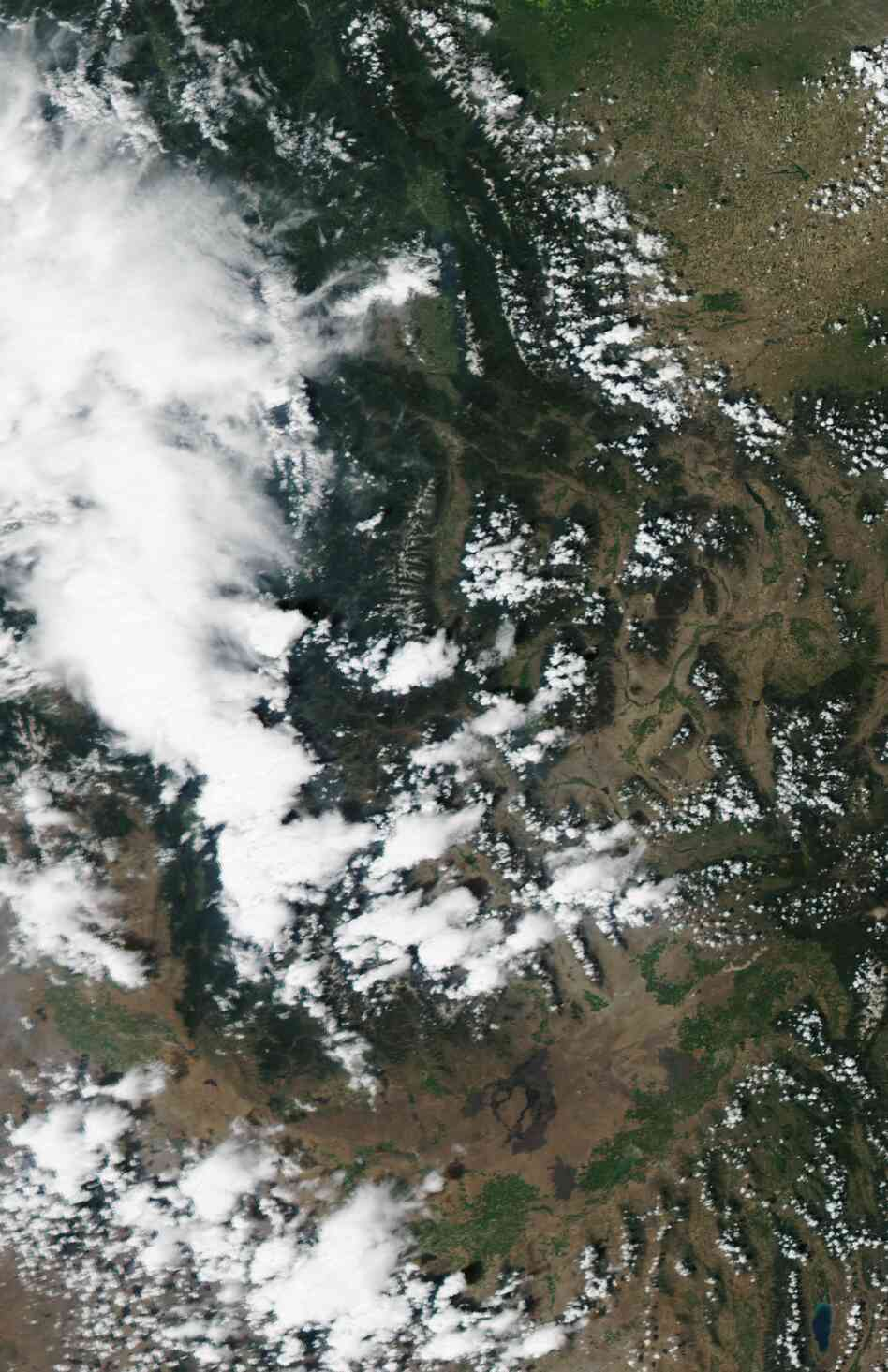 The view from above: A satellite image of Idaho and western Montana,