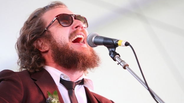 "Jim James performs as ""Yim Yames"" at the Newport Folk Festival in 2010. James returns this year with My Morning Jacket as the festival's headlining act. (NPR)"