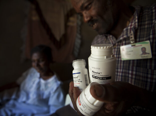 Generic antiretroviral drugs have made treatment widely available for people like Marie Lourdes Pierre (left), a patient with HIV/AIDS in Haiti.