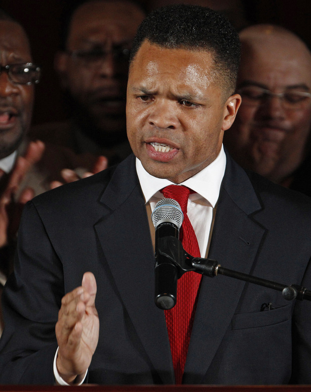 Rep. Jesse Jackson Jr., D-Ill., thanks supporters at his primary election night party in Chicago on March 20.