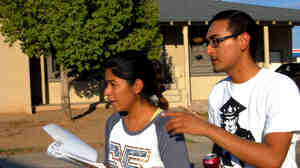 "Maxima Guerrero and Daniel Rodriguez canvass for votes in Phoenix. Rodriguez moved to the U.S. with his mother when he was a child, and is undocumented. ""The best thing I can do now,"" he says, ""is organize those that can [vote], and make them vote for me."""