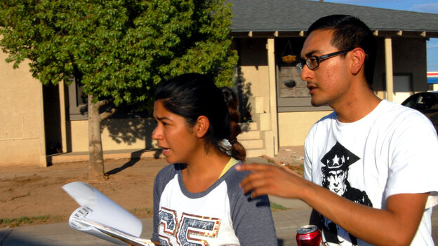 Maxima Guerrero and Daniel Rodriguez canvass for votes in Phoenix. Rodriguez m