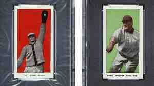 "Two of the most valuable cards in the collection: Ty Cobb (left) and Honus ""Hans"" Wagner."
