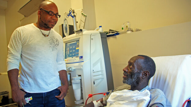While Kenya Jackson (right) is on his thrice-weekly dialysis treatment, commu