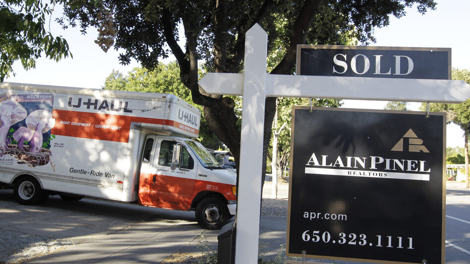 A moving truck is shown at a house that was sold in Palo Alto, Calif. on Tuesday. (AP)