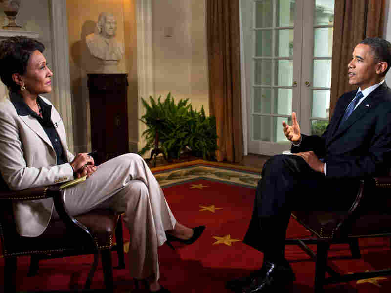President Obama is interviewed from the Cabinet Room of the White House by Robin Roberts on ABC's Good Morning America on May 9. During the interview, Obama expressed his support for gay marriage — a first for a U.S. president.