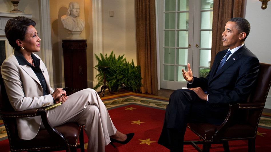 President Obama is interviewed from the Cabinet Room of the White House by Robin Roberts on ABC's Good Morning America on May 9. During the interview, Obama expressed his support for gay marriage — a first for a U.S. president. (The White House via Getty Images)