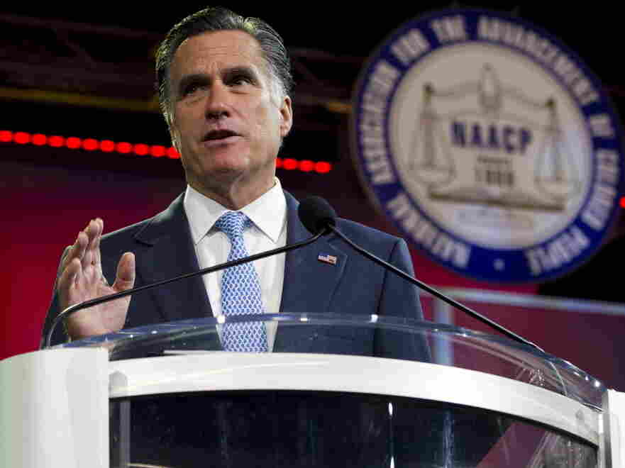 Republican presidential candidate Mitt Romney during his address to the NAACP's annual convention this morning in Houston.