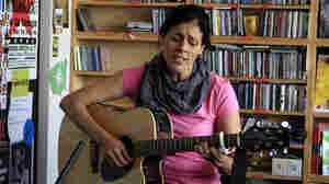 Souad Massi performs a Tiny Desk Concert at NPR headquarters in Washington, D.C., on June 29, 2012.