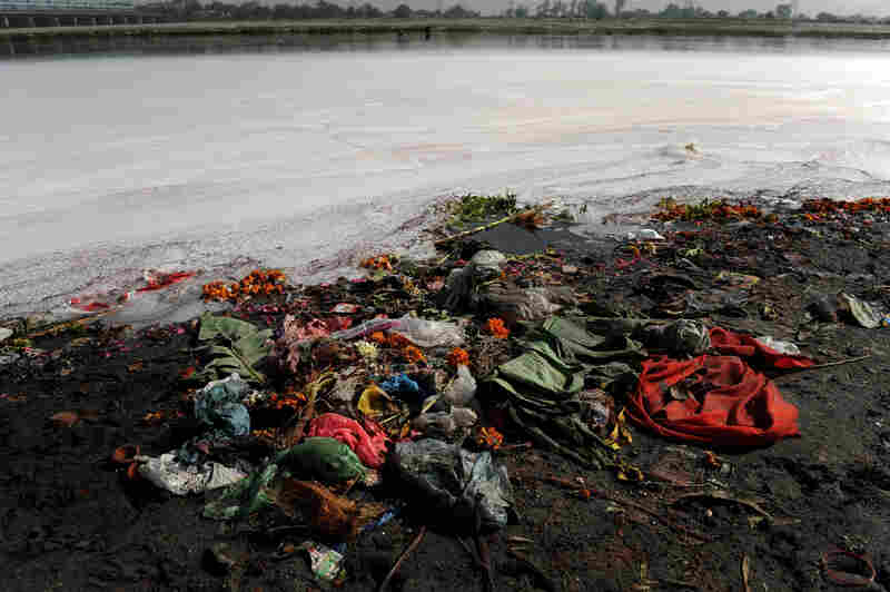 "Garbage litters the banks of India's holy Yamuna River on World Water Day 2010. For decades, the Yamuna has been dying a slow death from pollution. According to Blackwell, even its most ardent defenders refer to it as a ""sewage drain."""