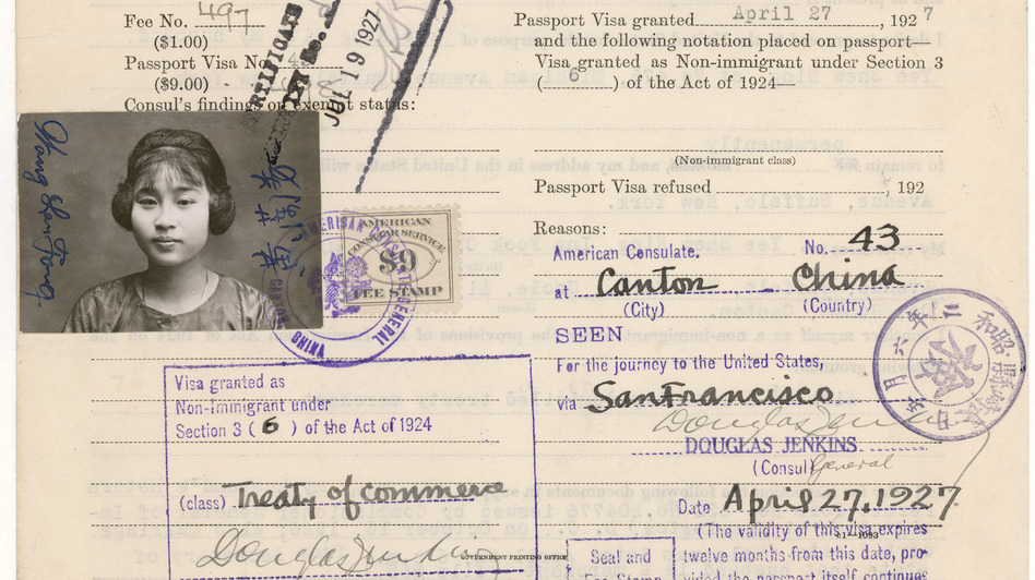 "Wong Lan Fong only spent one to two nights at Angel Island at a time when most were detained for up to two weeks. This is Fong's ""Declaration of Non-immigrant Alien about to Depart for the United States"" document from April 27, 1927.  (U.S. National Archives and Records)"