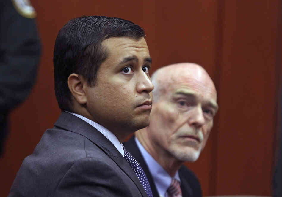 George Zimmerman, left, and attorney Don West appear before Circuit Judge Kenneth R. Lester, Jr. during a bond hearing in June