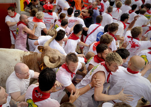 Every July, up to 1 million people gather in the northern Spanish city of Pamplona for nine days of merriment.