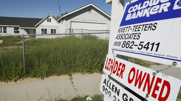Half of San Bernardino County's 300,000 mortgages are underwater. In an attempt to ease the mortgage crisis, the Southern California county is considering taking control of some of those properties by eminent domain. (AFP/Getty Images)