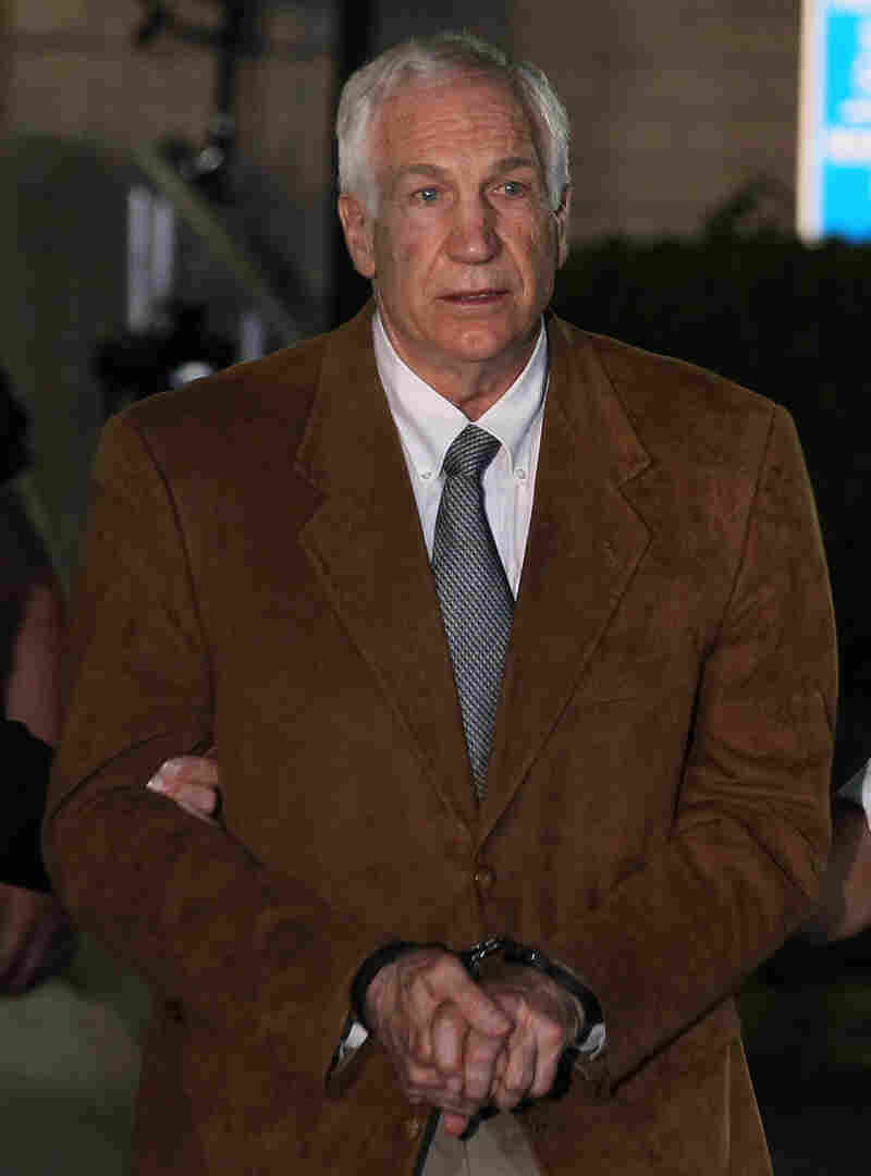 Former Penn State assistant football coach Jerry Sandusky being led away from court after his conviction last month.