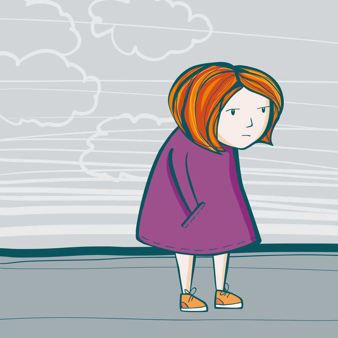 A young girl feeling sad.