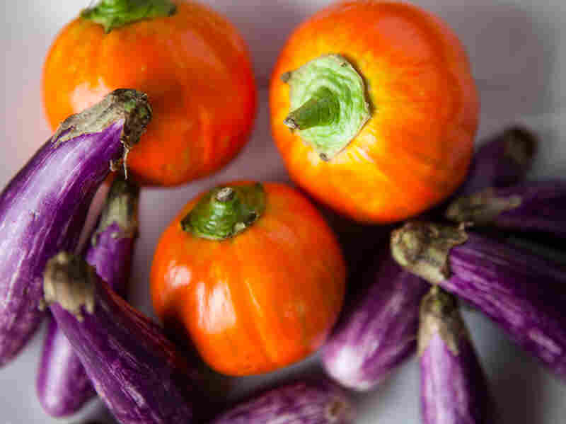 Eggplants come in many colors.