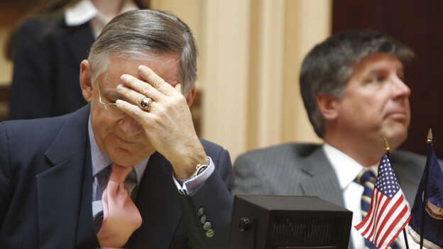 Virginia Senate Republican Leader Thomas Norment, of James City, (left), and State Sen. Stephen Newman, of Lynchburg, listen to a Feb. debate on a bill requiring an ultrasound before an abortion. The bill was later amended to remove a requirement for transvaginal ultrasound.