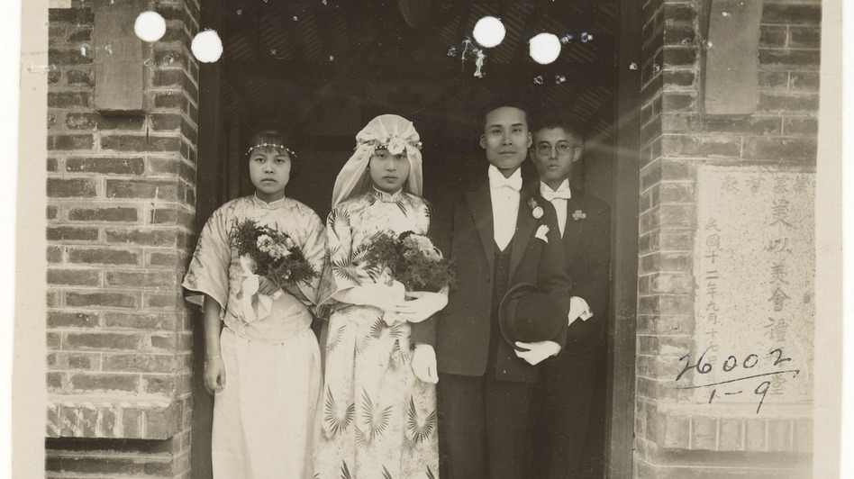 The wedding photograph of Wong Lan Fong and Yee Shew Ning, in front of the Mei Yi Mei Church, a Chinese Methodist Church, at the island of Honam, across the Pearl River from Canton (now Guangzhou) in 1926.  (U.S. National Archives and Records)