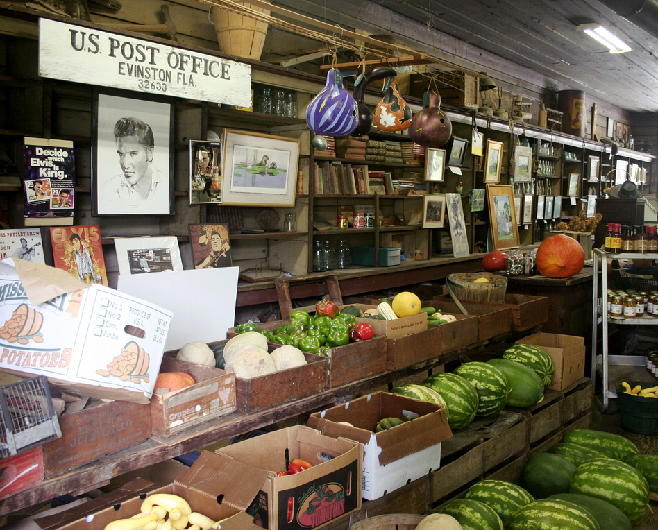 The store also sells produce from the Woods' farm.  (StoryCorps)