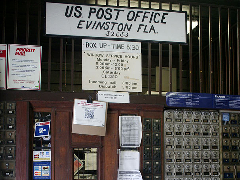 Evinston's post office is on a U.S. Postal Service list of rural facilities facing cuts in their operating hours. (StoryCorps)