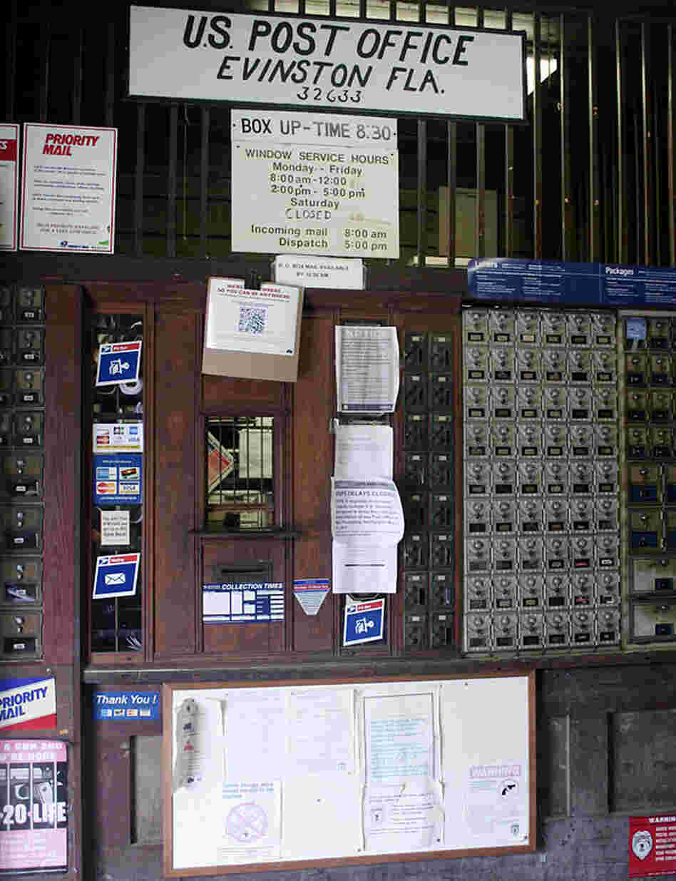 Evinston's post office is on a U.S. Postal Service list of rural facilities facing cuts in their operating hours.