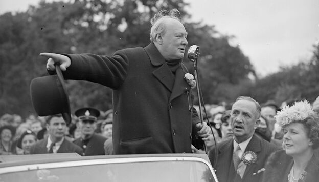 Winston Churchill wrote every word of his many speeches — he said he'd spend an hour working on a single minute of a speech. Above, he is shown speaking during the 1945 election campaign.