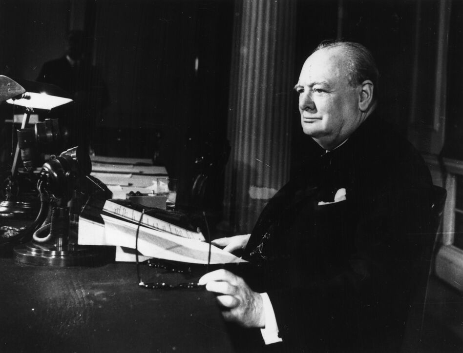 Churchill makes his broadcast to the world on V-E Day, May 8, 1945. (Getty Images)