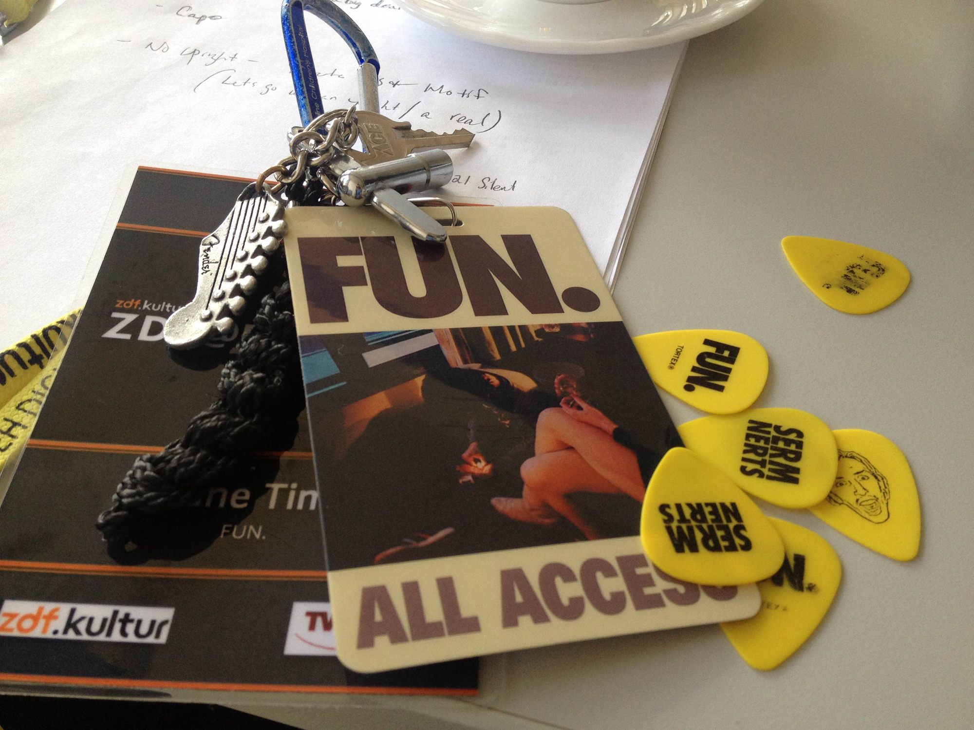 All Access: fun. guitar picks alongside tech Shane Timm's keys and back stage pass for the band's European tour.