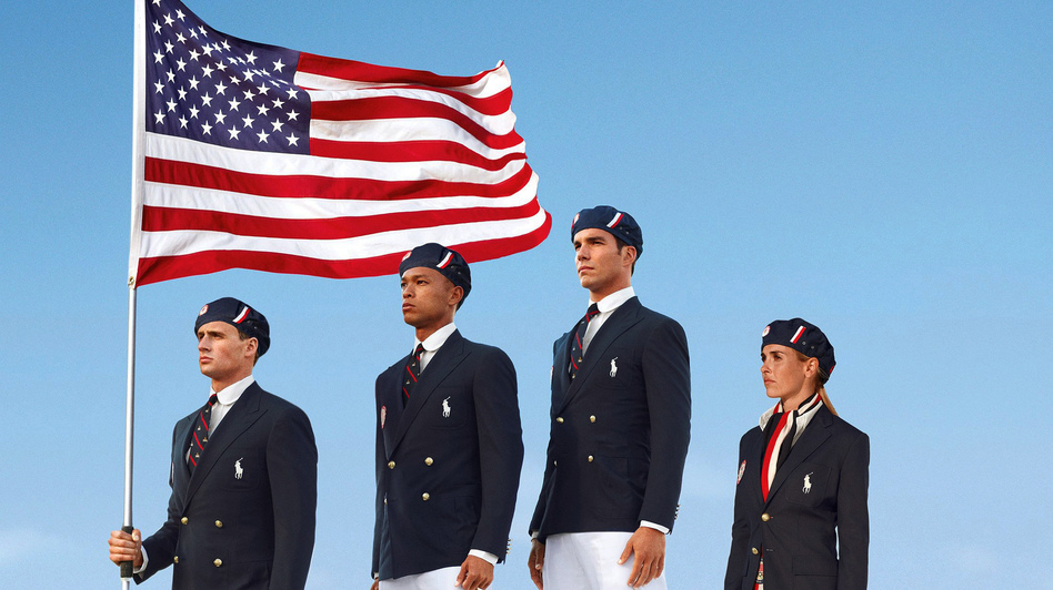 This product image released by Ralph Lauren shows U.S. Olympic athletes, from left, swimmer Ryan Lochte, decathlete Bryan Clay, rower Giuseppe Lanzone and soccer player Heather Mitts modeling the the official Team USA Opening Ceremony Parade Uniform. (AP)