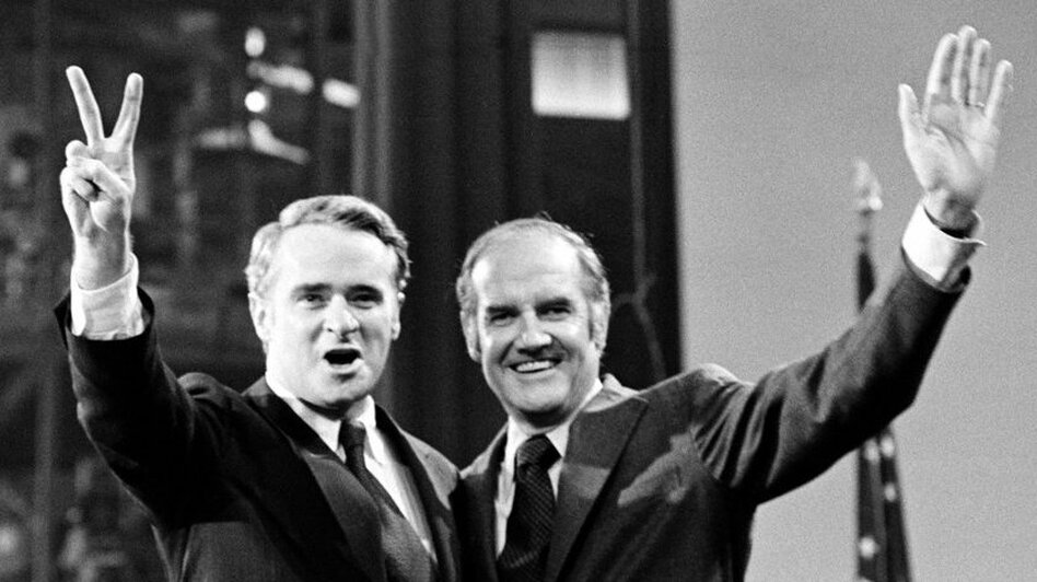The 1972 Democratic ticket of George McGovern (right) for president and Thomas F. Eagleton for vice president lasted only 18 days. Eagleton was dropped after telling reporters he'd had electroshock treatments for depression. (AP)