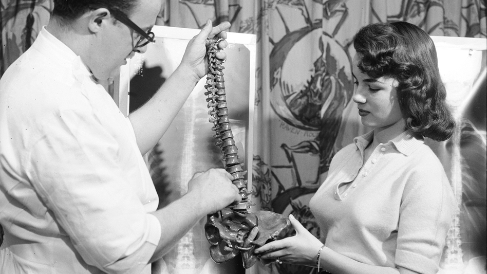 Lois Conway stands by her spinal X-ray and reviews a model of the human spine with a chiropractor. (Time )
