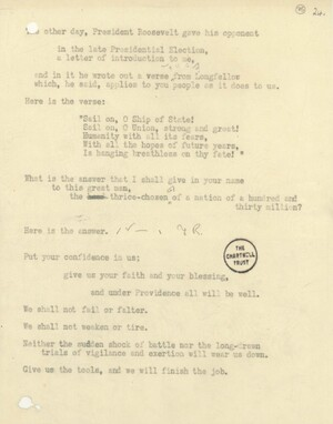 Churchill spaced and marked his speeches to help him with his delivery. Above is the final draft of the speech he broadcast on Feb. 9, 1941. Click to enlarge.