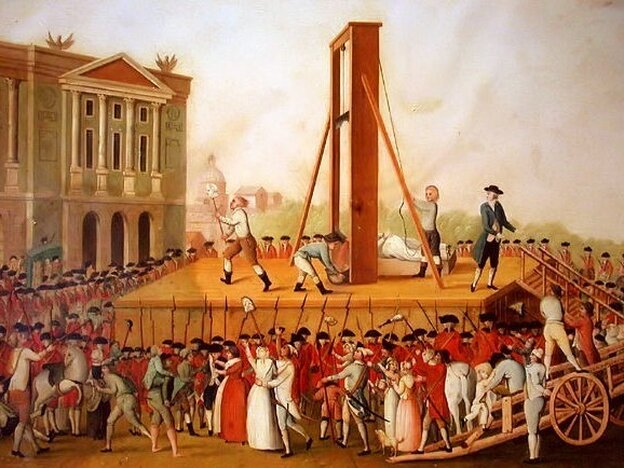 The execution of Marie Antoinette.  Artist unknown.