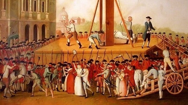 The execution of Marie Antoinette.  Artist unknown. (Wikimedia)