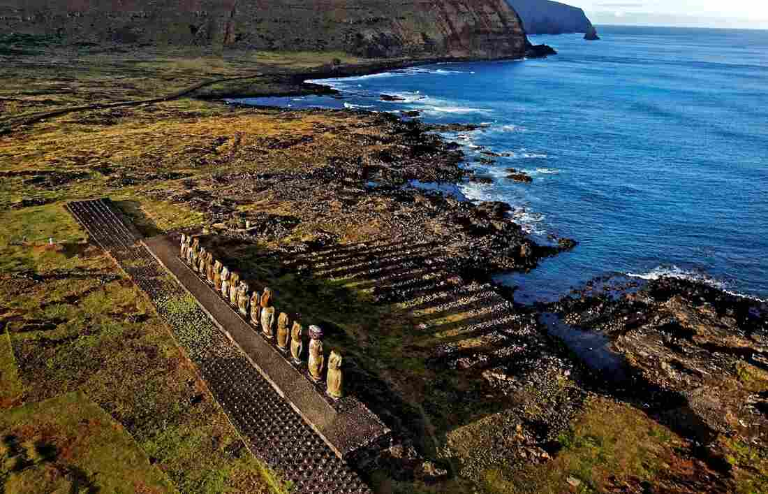 """""""Carved centuries ago from volcanic tuff,"""" according to National Geographic, the moai statues are """"believed to embody the deified spirits of ancestors."""""""
