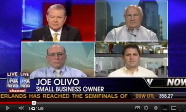 Joe Olivo (bottom right) has been interviewed by several news outlets about being the owner of a small business. This is from Fox News in July 2010.