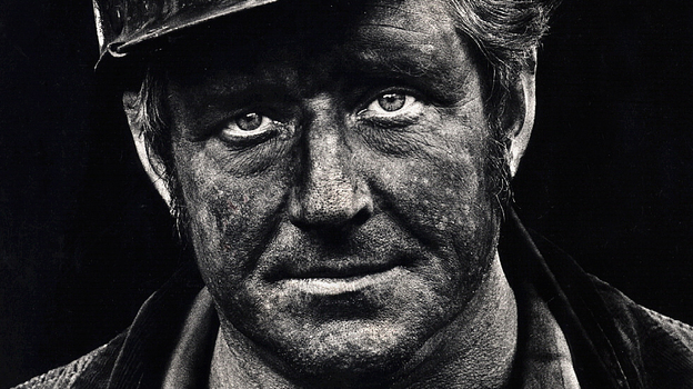 Coal miner Lee Hipshire in 1976, shortly after emerging from a mine in Logan County, W.Va., at the end of his shift. A few years later, Lee took early retirement because of pneumoconiosis, or black lung disease. He died at 57. (Courtesy of Earl Dotter)