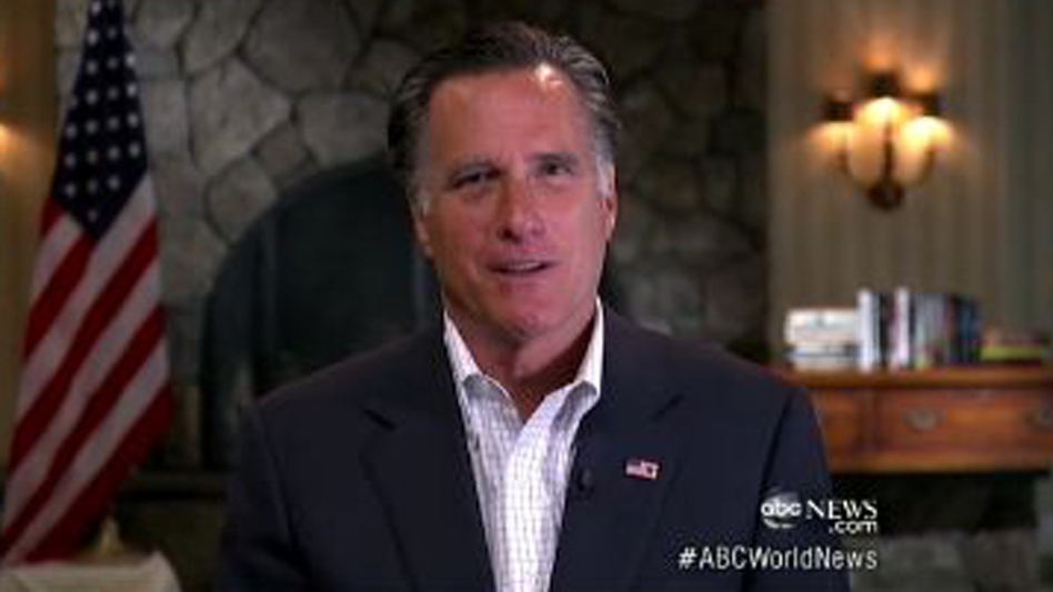 Mitt Romney appears on ABC News in one of the five TV interviews he did Friday. He mostly responded to comments from the Obama campaign about his role at Bain Capital. (ABC News)
