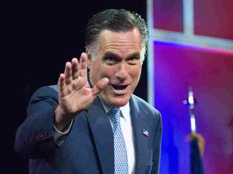 Republican presidential candidate Mitt Romney addresses the NAACP annual convention in Houston, Texas on July 11.