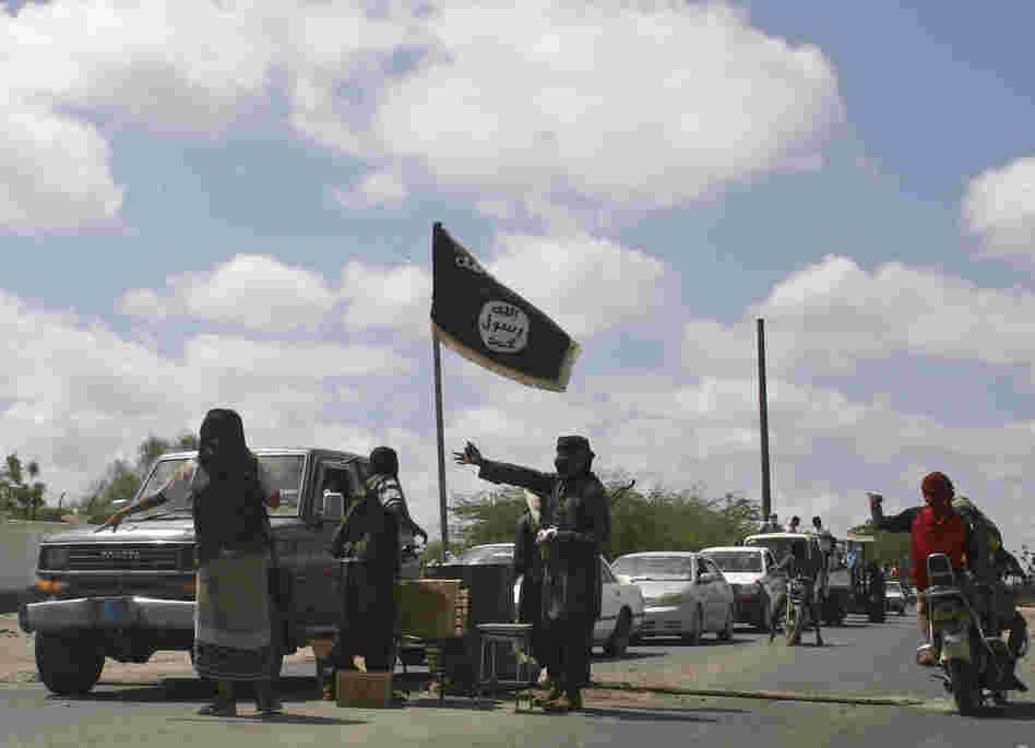 Members of Ansar al-Sharia, another al-Qaida-affiliated group, man a checkpoint at the southern Yemeni town of Jaar in April. Government troops recently retook areas in the country's restive south from militant control after a two-month offensive.