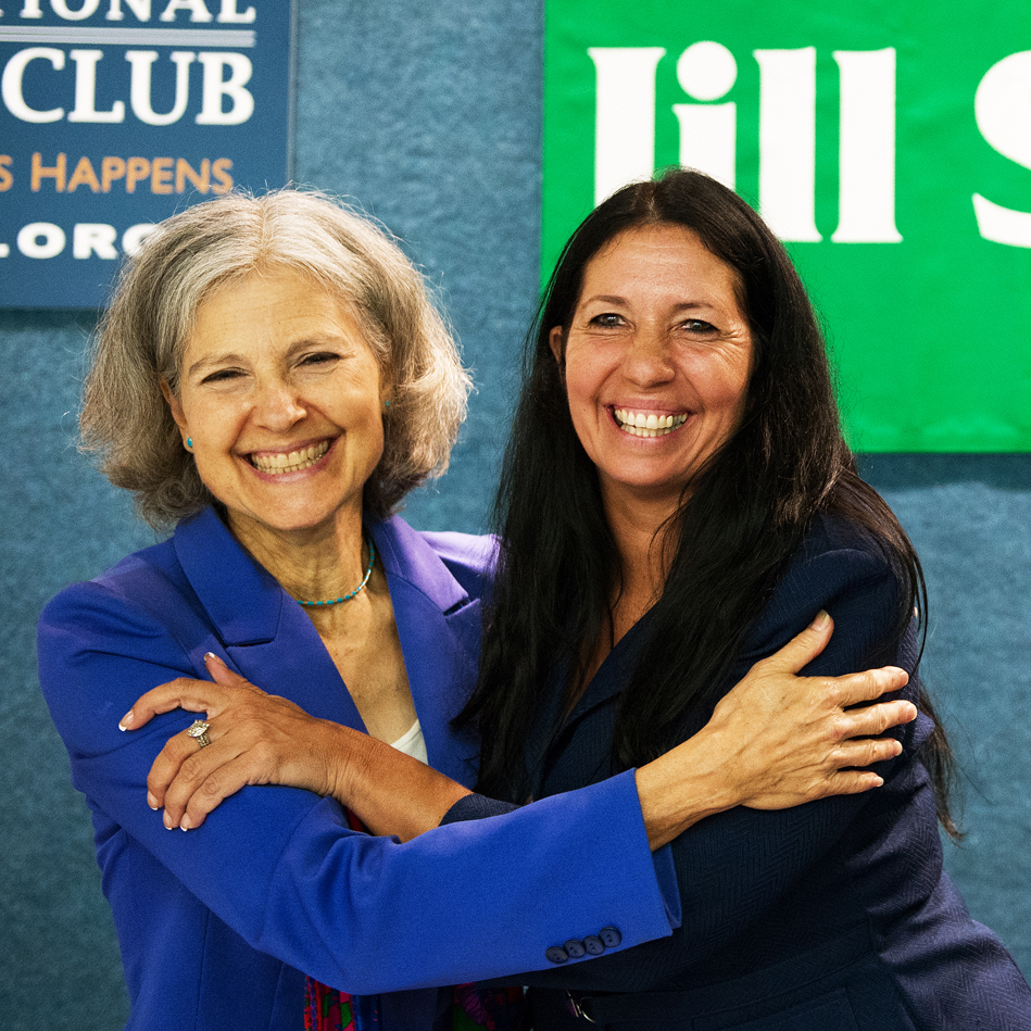 Green Party presidential candidate Dr. Jill Stein (left) embraces Cheri Honkala after introducing her as the Green Party nominee for vice president on July 11 in Washington, D.C.