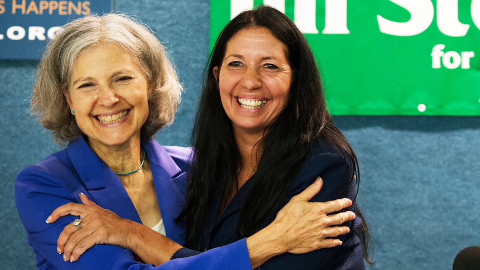 Green Party presidential candidate Dr. Jill Stein (left) embraces Cheri Honkala after introducing her as the Green Party nominee for vice president on July 11 in Washington, D.C. (AFP/Getty Images)