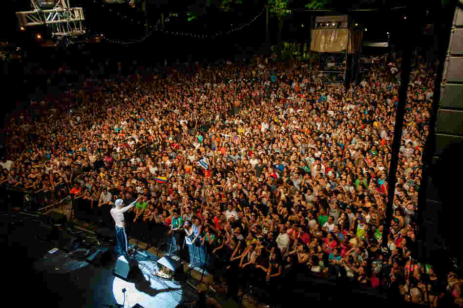 More than 7,000 fans packed the Prospect Park Bandshell to hear the Puerto Rican rap duo Calle 13. Organizers estimated that just as many people were turned away after the venue reached capacity.